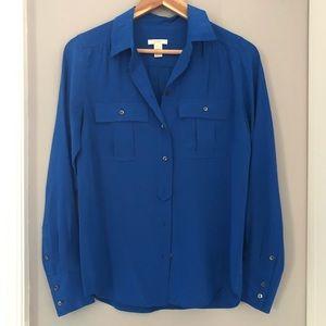 JCrew Blue Silk Button Down Shirt